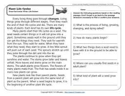 reading comprehension grade 4 worksheets plant cycles reading comprehension science and