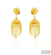 gold earrings with price 22k gold fancy jhumki ajer59125 22k gold jhumki earrings