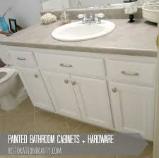 Paint Bathroom Cabinets by Restoration Beauty Painted Bathroom Cabinets Hardware