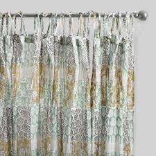 Citrine Curtains Aqua Genevieve Cotton Concealed Tab Top Curtains Set Of 2 World