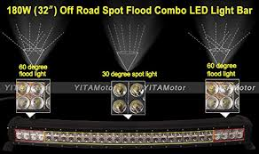 60 inch led light bar yitamotor curved 180w 32 inch combo work led light bar driving
