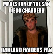 Raiders Chargers Meme - makes fun of the san diego chargers oakland raiders fan scumbag