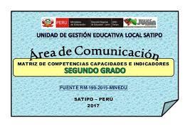 199 2015 minedu matriz de segundo grado comunicacion matriz de competencias capacidades e indic