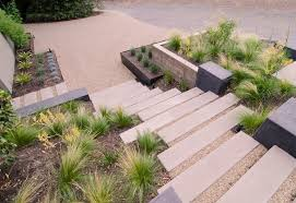 modern hardscape landscape modern with raised garden beds front