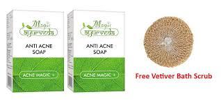 Scrub Bvr 2 x magic ayurveda anti acne soap 75g free vetiver