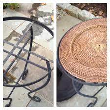 replace broken glass table top diy tip used wicker plate from world market to replace broken glass