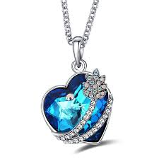 swarovski heart necklace blue images Caperci valentines day gifts for her swarovski jpg