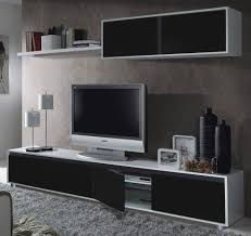 Black Living Room Furniture Sets Aida Tv Unit Living Room Furniture Set Media Wall Black On White