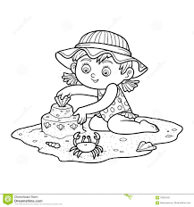 coloring book for children little on the beach stock vector