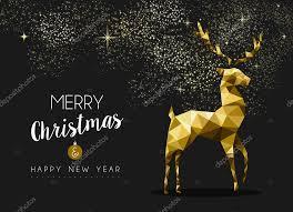 merry happy new year gold deer origami stock vector