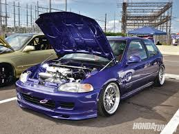 custom honda hatchback blue eg running on empty