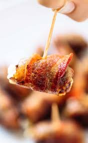 cuisine appetizer bacon wrapped dates with goat cheese recipe pinch of yum
