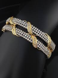 bracelet diamond style images American diamond two tone bangles indian kundan islamic and jpg
