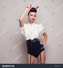pinup model posing vintage bunny stock photo 161645843