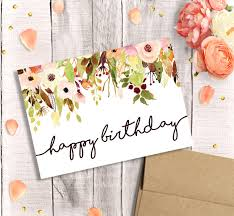 printable birthday card for her happy birthday watercolor floral