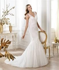 wedding dress sheer straps and flare mermaid v neck tulle lace wedding dress with sheer straps