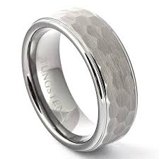 mens hammered wedding bands hammered wedding ring brushed men s ridged edge