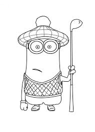 kevin golfer minion coloring printable coloring