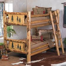 Rustic Beds Twin Over Full Size Rocky Mountain Log Bunk Bed Over - Log bunk beds