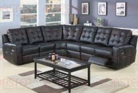 black leather reclining sectional foter