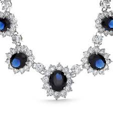 silver necklace with sapphire images Simulated sapphire cz bridal necklace earring set rhodium plated jpg