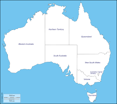 map of australia with state boundaries inside outline outline