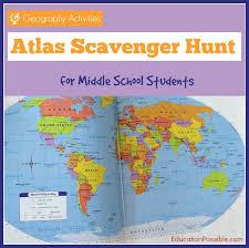 geography activities world atlas scavenger hunt