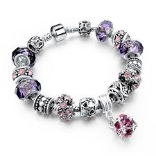 murano bracelet charms images 925 silver crystal charm bracelets for women with purple murano jpg