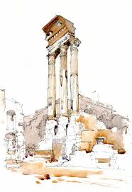 watercolour sketch of column in the forum rome italy archie