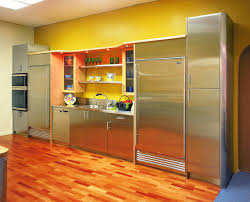 yellow wall decorating minimalist glossy metal kitchen cabinets in