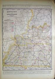 Kentucky Tennessee Map by Prints Old U0026 Rare Tennessee Page