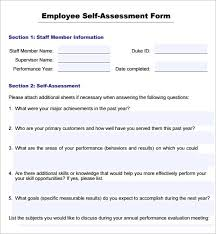 employee self evaluation forms free