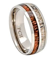 titanium mens wedding rings deer antler and koa wood ring titanium mens wedding band comfort