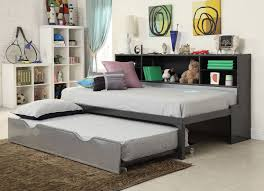 Black Twin Bedroom Furniture Sets Renell Twin Bed With Bookcase U0026 Trundle In Black U0026 Silver 37225t