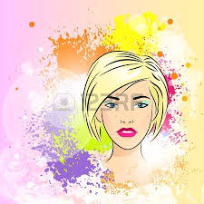 female face with colorful eyes and lips with melting paint