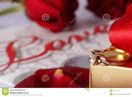 golden diamond ring with gift box and red rose stock image image