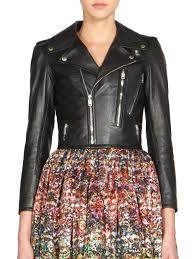 leather moto jacket saint laurent cropped leather moto jacket in black lyst