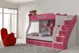 modern bunk bed with stairs and storage for toddler in pink