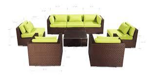 Lime Green Patio Furniture molokai 8 pc outdoor espresso wicker lime green kardiel