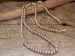 silver ball beads necklace images Morning star trading indian jewelry navaho jpg