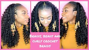 corn rolls under croshet hairstyle curly crochet braids with fulani braids and beads ll ft trendy