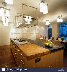suspended stainless steel shelving and ceiling lights above island