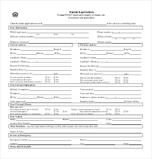 rental application template u2013 10 free word pdf documents