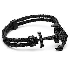 leather braided anchor bracelet images Mcllroy luxury gold stainless steel braided rope wristband mens jpg