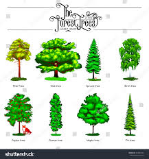 summer green forest tree small animals stock vector 444685390