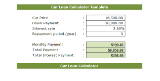 free sample car loan template microsoft excel templates