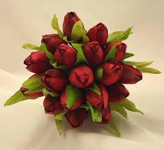 Tulip Bouquets Red Tulip Bridesmaid U0027s Posy Bouquet Wedding Bouquets Silk