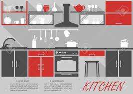 Kitchen Interior Decor Kitchen Interior Decor Infographic Template With Space For Text