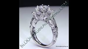 flower engagement rings lotus flower diamond engagement ring engraved with milgrain