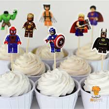 24pcs lego the avengers superman batman iron man cake toppers